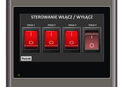 Ekran pozwalający na włączanie i ogrzewanie ogrzewania w kolejnych sekcjach