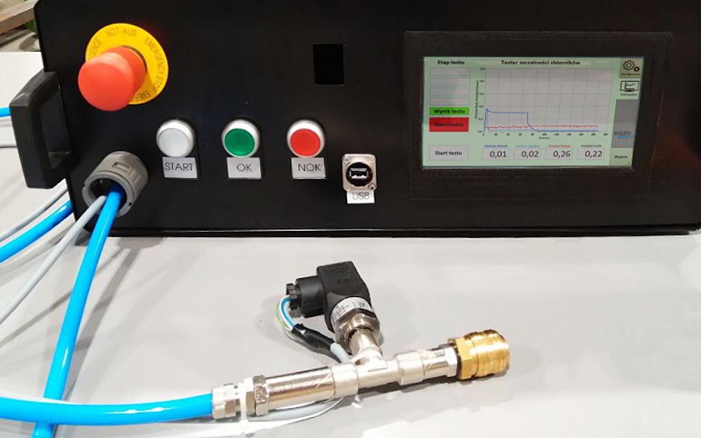 Stanowisko do automatycznego testowania szczelności zbiorników paliwowych
